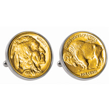 Gold-Layered Buffalo Nickel Silvertone Bezel Cuff Links