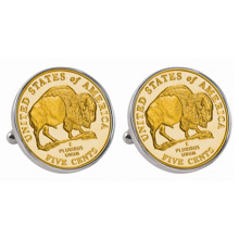 Gold-Layered Westward Journey 2005 Bison Jefferson Nickel Silvertone Bezel Cuff Links