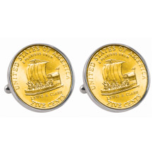Gold-Layered Westward Journey 2004 Keelboat Jefferson Nickel Silvertone Bezel Cuff Links