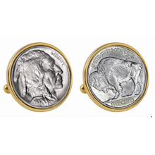 Buffalo Nickel Goldtone Bezel Cuff Links