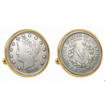 Liberty Nickel Goldtone Bezel Cuff Links