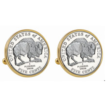 2005 Bison Nickel Goldtone Bezel Cuff Links