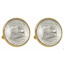 2004 Keelboat Nickel Goldtone Bezel Cuff Links