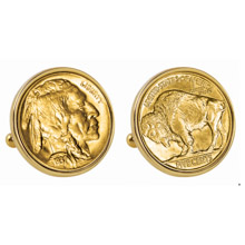 Gold-Layered Buffalo Nickel Goldtone Bezel Cuff Links