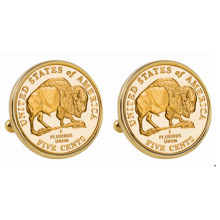 Gold-Layered 2005 Bison Nickel Goldtone Bezel Cuff Links
