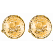 Gold-Layered 2004 Keelboat Nickel Goldtone Bezel Cuff Links