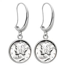 Silver Mercury Dime Silvertone Earrings