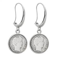 Silver Barber Dime Silvertone Earrings