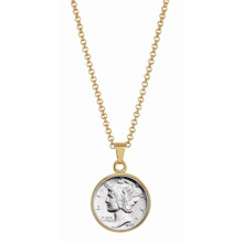 "Silver Mercury Dime Goldtone Pendant with 18"" Chain"
