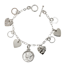Heart Charm Sterling Silver Bracelet with Silver Mercury Dime