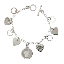 Heart Charm Sterling Silver Bracelet with Silver Barber Dime