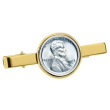 1943 Lincoln Steel Penny Goldtone Tie Clip