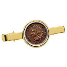Indian Penny Goldtone Tie Clip