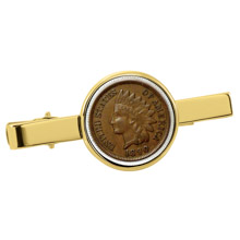 1800's Indian Penny Goldtone Tie Clip