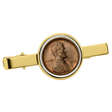 1909 First-Year-of-Issue Lincoln Penny Goldtone Tie Clip