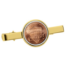 Lincoln Union Shield Penny Goldtone Tie Clip