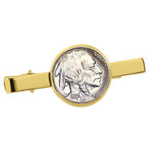 Buffalo Nickel Goldtone Tie Clip