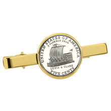 Westward Journey Keelboat Nickel Goldtone Tie Clip