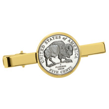 Westward Journey Bison Nickel Goldtone Tie Clip
