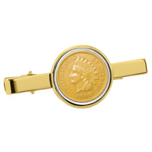 Gold-Layered Indian Penny Goldtone Tie Clip