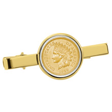 Gold-Layered 1800's Indian Penny Goldtone Tie Clip