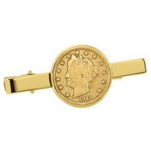 Gold-Layered Liberty Nickel Goldtone Tie Clip