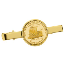 Gold-Layered Westward Journey Keelboat Nickel Goldtone Tie Clip