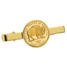 Gold-Layered Westward Journey Bison Nickel Goldtone Tie Clip