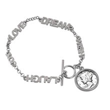 Silver Mercury Dime Inspirational Dream Wish Love Laugh Joy Coin Bracelet