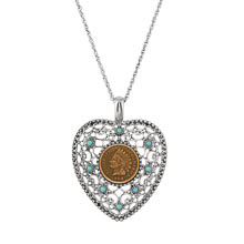 Indian Cent Vintage Heart Pendant