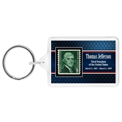 Thomas Jefferson and Monticello Stamp Acrylic Large Keychain