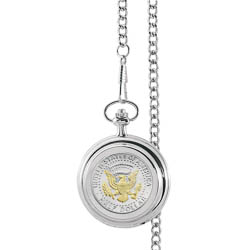Monogrammed Selectively Gold-Layered Presidential Seal Half Dollar Pocket Watch