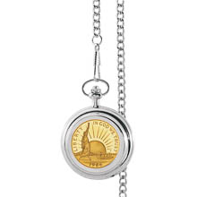 Monogrammed Gold-Layered Statue of Liberty Commemorative Half Dollar Pocket Watch