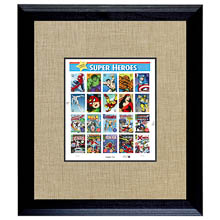 Super Heroes 2 U.S. Stamp Sheet in 16x14 Wood Frame