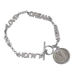 Inspirational Dream Wish Love Laugh Joy Irish Threepence Coin Toggle Bracelet