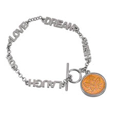 Inspirational Dream Wish Love Laugh Joy Butterfly Coin Toggle Bracelet
