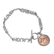 Inspirational Dream Wish Love Laugh Joy Hummingbird Coin Toggle Bracelet