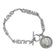 Silver Barber Dime Inspirational Dream Wish Love Laugh Joy Coin Bracelet
