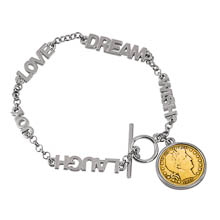 Gold-Layered Silver Barber Dime Inspirational Dream Wish Love Laugh Joy Coin Bracelet