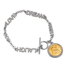 Gold-Layered Seated Liberty Silver Dime Inspirational Dream Wish Love Laugh Joy Coin Bracelet