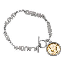 Gold-Layered Silver Mercury Dime Inspirational Dream Wish Love Laugh Joy Coin Bracelet