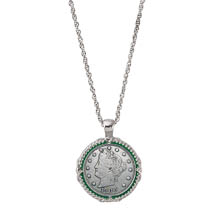 Liberty Nickel Green Enamel Coin Pendant Necklace