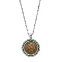 Indian Head Penny Green Enamel Coin Pendant Necklace