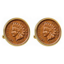 Indian Penny Goldtone Bezel Cuff Links