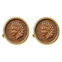 1800's Indian Penny Goldtone Bezel Cuff Links