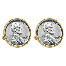 1943 Lincoln Steel Penny Goldtone Bezel Cuff Links
