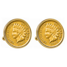 Gold-Layered Indian Penny Goldtone Bezel Cuff Links