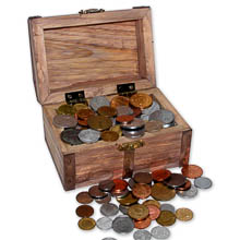 Treasure Chest of 100 Coins From Around the World