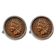 Indian Penny Silvertone Bezel Cuff Links