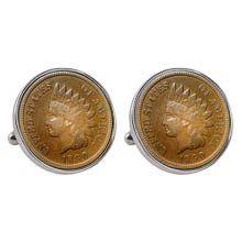 1800's Indian Penny Silvertone Bezel Cuff Links